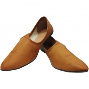 Port Punjabi Khaki Synthetic Leather Slip On Jutis