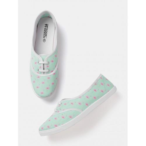 b6f8c3a04 Buy Kook N Keech Women Mint Green Printed Sneakers online