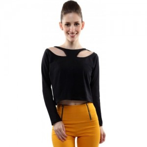 Miss Chase Casual Full Sleeve Solid Women's Black Top