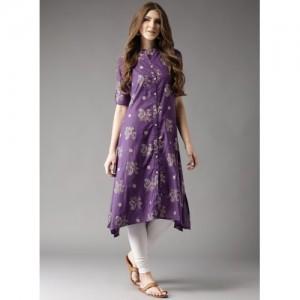 HERE&NOW Purple Cotton Printed A-Line Kurta