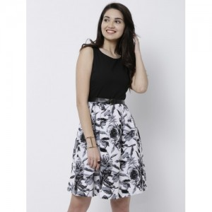 Tokyo Talkies Women Black & White Printed Fit and Flare Dress
