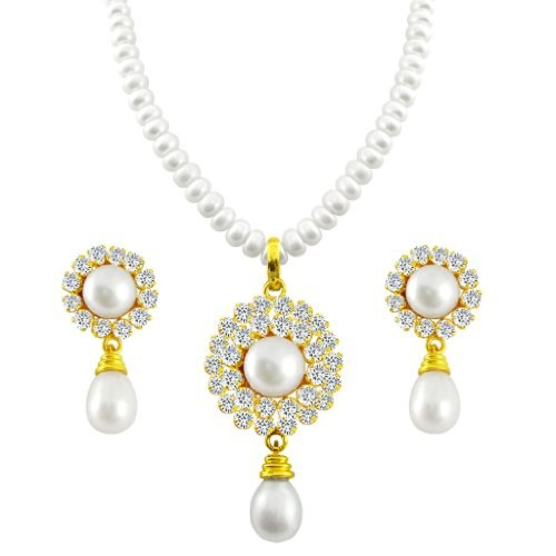 Sri Jagdamba Pearls Pearl White Pendant Necklace With Earrings Set For Women/Girls