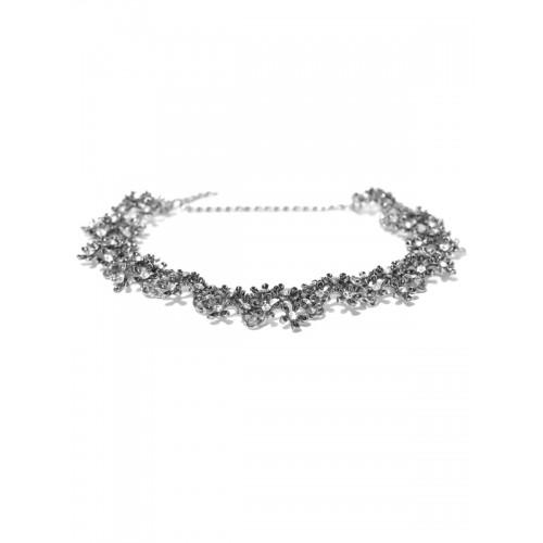 Shining Diva Oxidised Silver-Toned Stone-Studded Collar Necklace