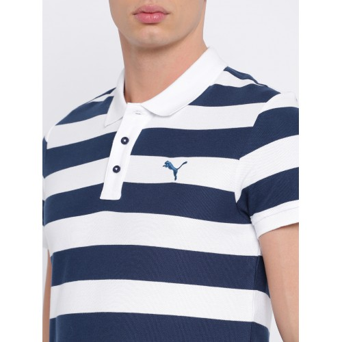 Buy Puma Men White Striped Polo Collar