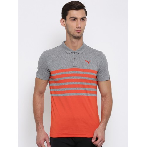 Buy Puma Men Grey Orange Striped Polo Collar Jersey T