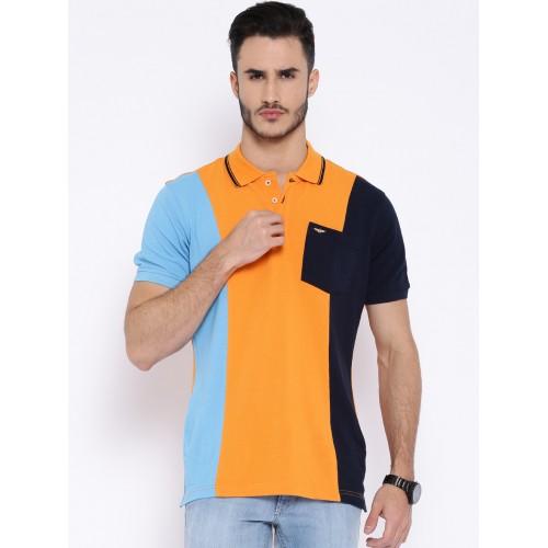 be2c6348 Buy Park Avenue Orange & Blue Polo T-shirt online   Looksgud.in