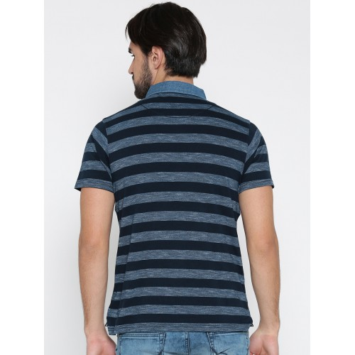 Pepe Jeans Men Blue Striped Polo Collar T-shirt