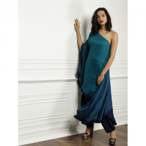 All About You Teal Blue Viscose Solid One-Shoulder Kurta