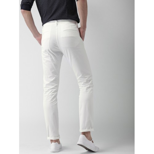Highlander White Slim Fit Casual Trousers