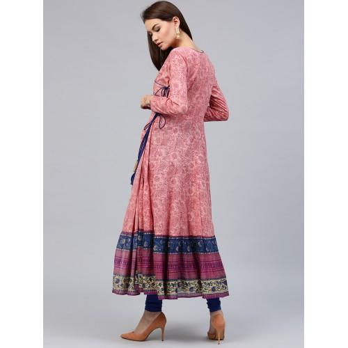 Jaipur Kurti Women Pink & Navy Printed Angarakha Anarkali Kurta