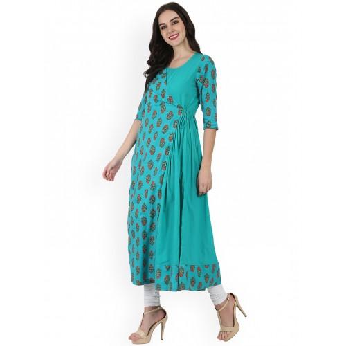 Nayo Women Blue & Sea Green Printed Anarkali Kurta