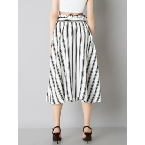 305d6fef2 ... FabAlley Women white and Black Striped Paperbag Waist Midi Skirt ...