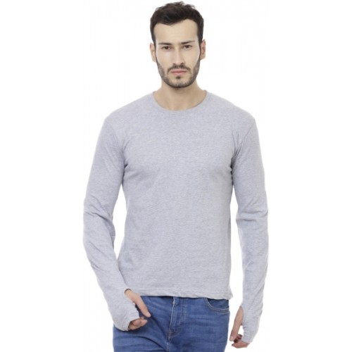 Cenizas Light Grey Cotton Blend Solid T-Shirt