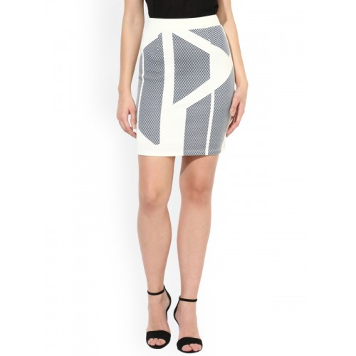 963fa6784c96 Buy Leo Sansini White & Black Pencil Mini Skirt online | Looksgud.in