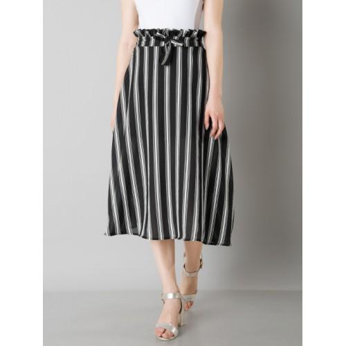 96ebb6d8d ... FabAlley Women Black & White Striped Paperbag Waist Midi Skirt ...