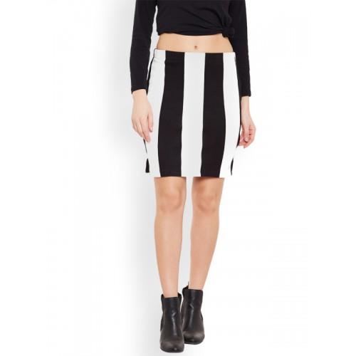 Rider Republic Black & White Striped Pencil Skirt