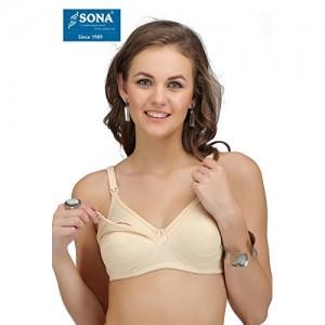 Sona® Feeding, Maternity Nursing Women Breastfeeding Cotton Pink Elastic Straps Bra
