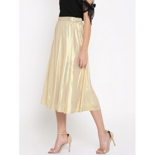 e90383ccc7 Buy SASSAFRAS Metallic A-Line Midi Skirt online | Looksgud.in