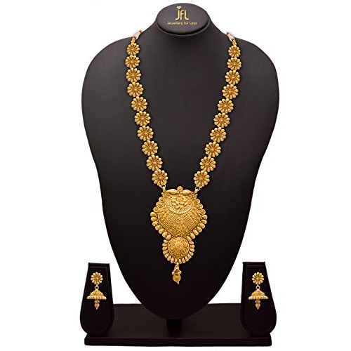 Jfl - Jewellery For Less Copper One Gram Gold Plated Necklace Set For Women