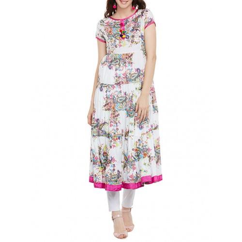 multicolored cotton tiered kurta
