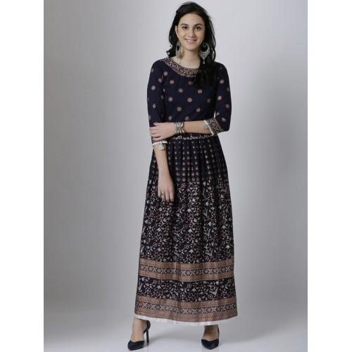 eb635551a Buy Vishudh Women Navy Blue Printed Anarkali Kurta online ...