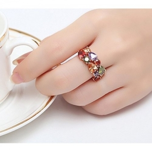 Yellow Chimes Vine Swiss Cubic Zirconia Metal 18K Rose Gold Plated Ring