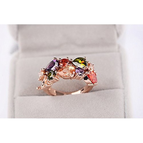 Yellow Chimes 18K Rose Gold Plated Vine Swiss Cubic Zirconia Metal Ring