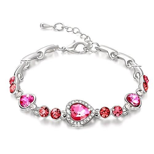 Yellow Chimes Pink & Silver CZ Heart Charm Bracelet
