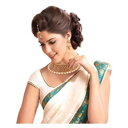 Sitashi 18 K Gold Plated Alloy Antique Rajwadi Choker Necklace Set