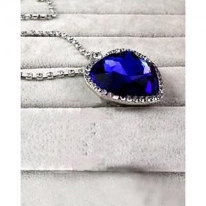 Shining Diva Blue & Silver Metal Heart Of Ocean Pendant Necklace