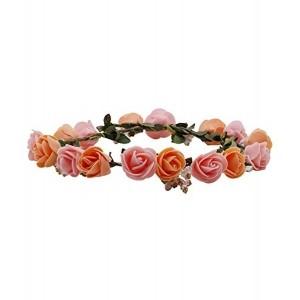 Sanjog Flower Peach Pink Gracious Tiara/Crown Head Wrap