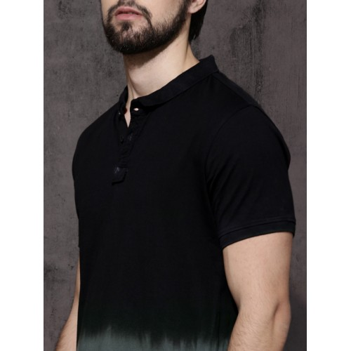 Roadster Roadster Men Black & Charcoal Grey Ombre Washed T-shirt