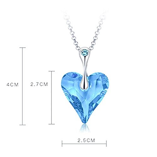 Yellow Chimes Blue Ocean Heart Crystals from Swarovski Pendant