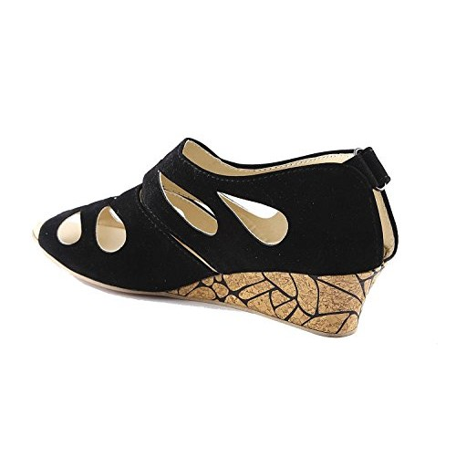 Kanchan Black Synthetic Wedges Sandal