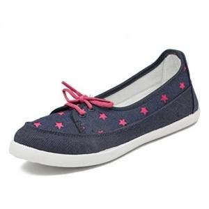 Asian Navy Blue Canvas Women Shoes