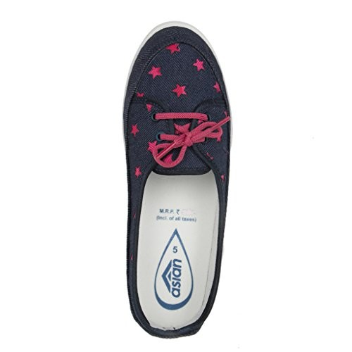 Asian Navy Blue Canvas Women Bellies