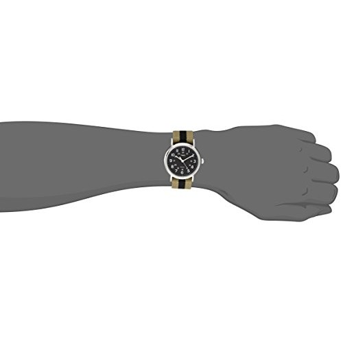Timex Unisex T2P2369J Weekender Silver-Tone Watch with Olive and Black Stripe Nylon Band