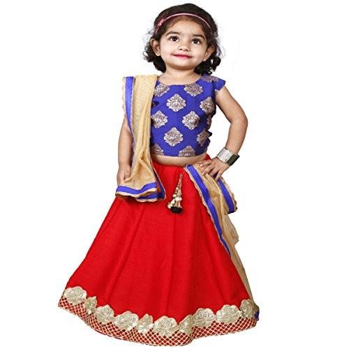 Najara Fashion Red Silk & Blue Printed Silk Lehnga Choli Set