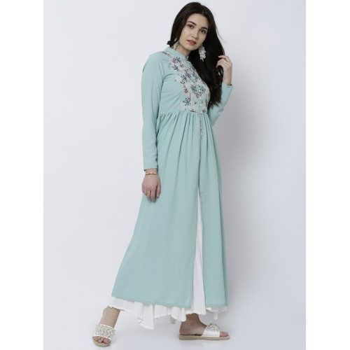 Vishudh Women Teal Solid Anarkali Kurta