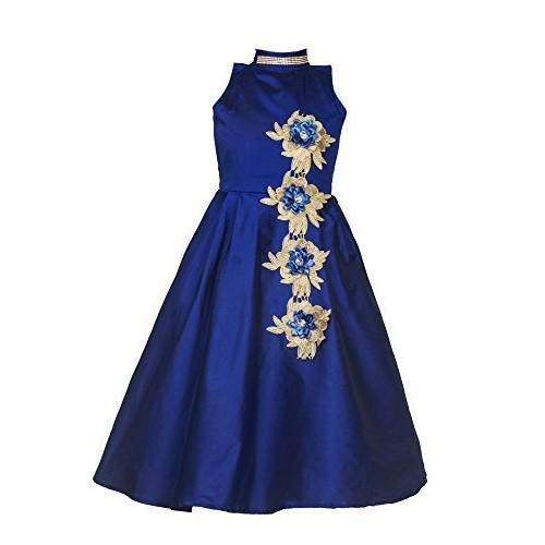 Shiroya Brothers Girls Kidswear Banglori Silk Embroidery Semi-stitched gown