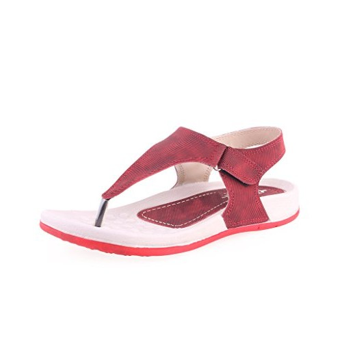 Pure Red Synthetic Flats Sandals