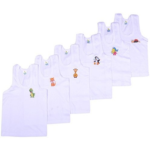 Kuchipoo Boys Regular Fit Cotton Vest (Pack of 6)