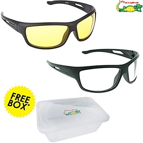57da2d9f30 ... Elligator NightDrive Night Vision Anti Glare Wrap Unisex Sunglasses Pack  Of 2 ...