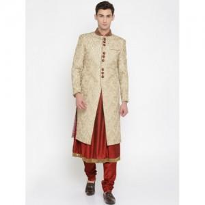 Manish Creations Beige & Maroon Embellished Anarkali Sherwani