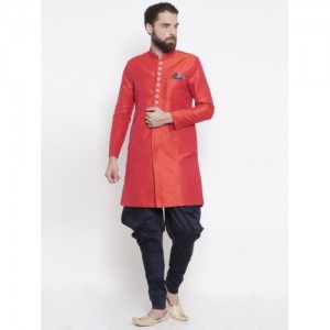 Shahjada Coral Red & Navy Silk Royale Nawabi Sherwani