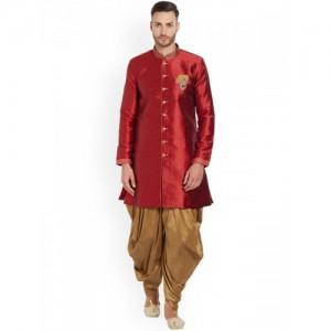 MFS Men Red & Gold-Toned Solid Sherwani