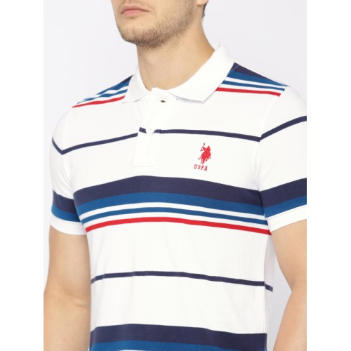 U.S. Polo Assn. Men White Striped Polo Collar T-shirt