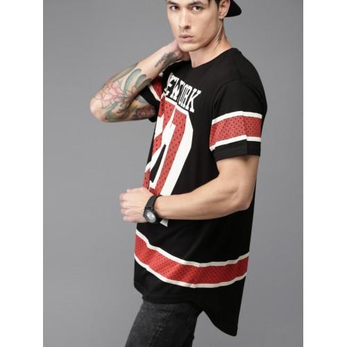 Moda Rapido Men Black Printed Round Neck Longline T-shirt