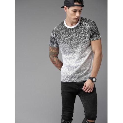 Moda Rapido Men White Printed Round Neck T-shirt