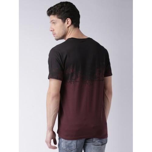 Moda Rapido Men Burgundy Colourblocked T-Shirt